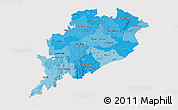 Political Shades 3D Map of Orissa, cropped outside