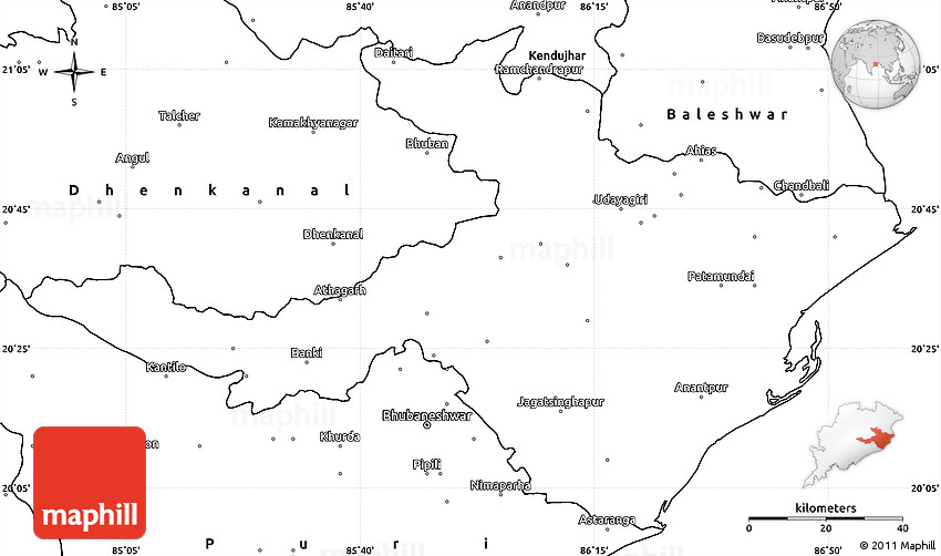 blank simple map of cuttack