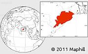 Blank Location Map of Orissa
