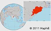 Gray Location Map of Orissa