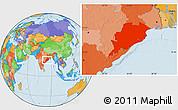 Political Location Map of Orissa