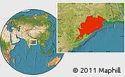 Satellite Location Map of Orissa