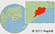 Savanna Style Location Map of Orissa