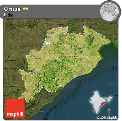 Free Satellite Map of Orissa, darken