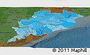 Political Shades Panoramic Map of Orissa, darken