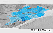 Political Shades Panoramic Map of Orissa, desaturated