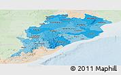 Political Shades Panoramic Map of Orissa, lighten