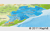 Political Shades Panoramic Map of Orissa, physical outside