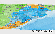 Political Shades Panoramic Map of Orissa
