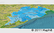 Political Shades Panoramic Map of Orissa, satellite outside