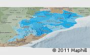Political Shades Panoramic Map of Orissa, semi-desaturated
