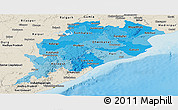 Political Shades Panoramic Map of Orissa, shaded relief outside