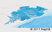 Political Shades Panoramic Map of Orissa, single color outside