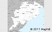 Gray Simple Map of Orissa