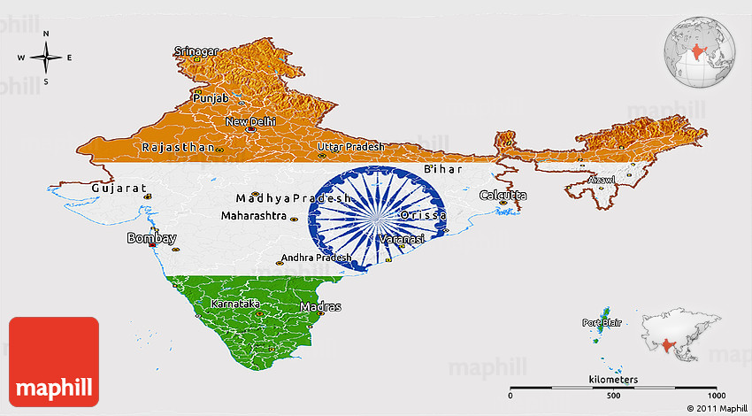 India Flag Map: Flag Panoramic Map Of India