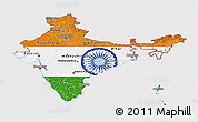 Flag Panoramic Map of India