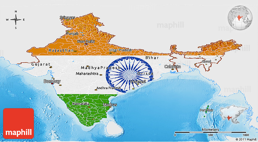 India Flag Map: Flag Panoramic Map Of India, Single Color Outside, Shaded