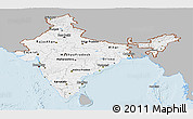 Gray Panoramic Map of India, single color outside