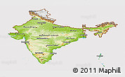 Physical Panoramic Map of India, cropped outside