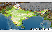 Physical Panoramic Map of India, darken