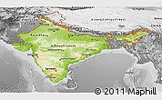 Physical Panoramic Map of India, desaturated