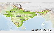 Physical Panoramic Map of India, lighten