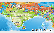 Physical Panoramic Map of India, political outside, shaded relief sea