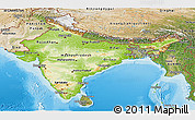 Physical Panoramic Map of India, satellite outside, shaded relief sea