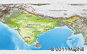 Physical Panoramic Map of India, semi-desaturated, land only
