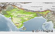 Physical Panoramic Map of India, semi-desaturated