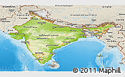Physical Panoramic Map of India, shaded relief outside