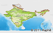 Physical Panoramic Map of India, single color outside