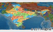Political Panoramic Map of India, darken