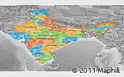 Political Panoramic Map of India, desaturated