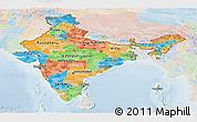 Political Panoramic Map of India, lighten