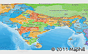 Political Panoramic Map of India, political shades outside