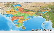 Political Panoramic Map of India, satellite outside, bathymetry sea