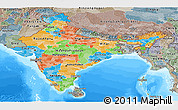 Political Panoramic Map of India, semi-desaturated, land only