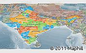 Political Panoramic Map of India, semi-desaturated