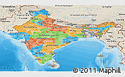 Political Panoramic Map of India, shaded relief outside, bathymetry sea