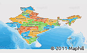 Political Panoramic Map of India, single color outside