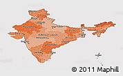 Political Shades Panoramic Map of India, cropped outside