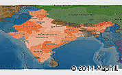 Political Shades Panoramic Map of India, darken