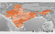 Political Shades Panoramic Map of India, desaturated