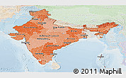 Political Shades Panoramic Map of India, lighten
