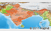 Political Shades Panoramic Map of India, physical outside