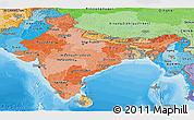 Political Shades Panoramic Map of India