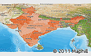 Political Shades Panoramic Map of India, satellite outside, bathymetry sea