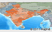 Political Shades Panoramic Map of India, semi-desaturated, land only
