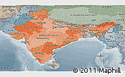 Political Shades Panoramic Map of India, semi-desaturated